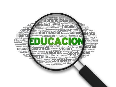 instructions: Ingrandita con l'illustrazione Educacion parola su sfondo bianco. Archivio Fotografico