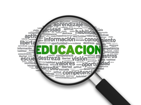 Magnified illustration with the word Educacion on white background. Banco de Imagens