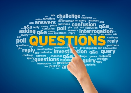 questions: Hand pointing at a Questions word Cloud on blue background. Stock Photo