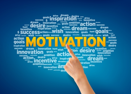 Hand pointing at a Motivation word cloud on blue background.
