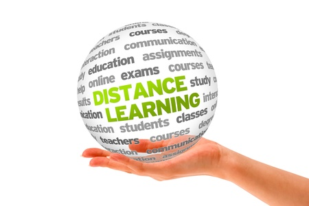 project deadline: Hand holding a 3d Distance Learning Sphere on white background.