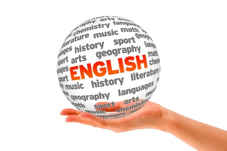english: Hand holding a 3d English Word Sphere on white background.