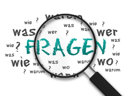 Magnified illustration with the word Fragen on white background. illustration