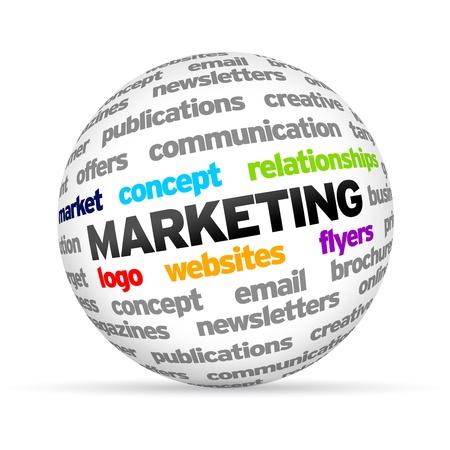 Marketing 3D Word Sphere op een witte achtergrond. Stockfoto