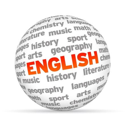 Engels 3D woord bol op een witte achtergrond.