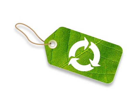 eco icons: Eco friendly promotional price tag on white background.