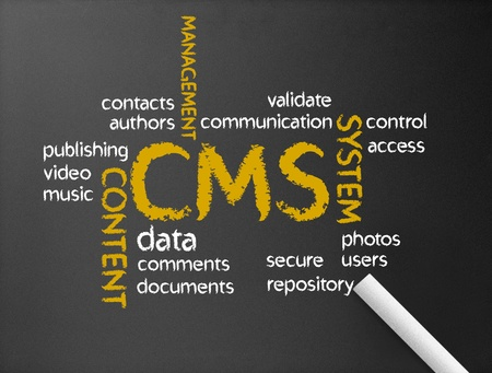 webhosting: Dark chalkboard with the word CMS illustration.  Stock Photo