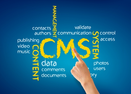 Hand pointing at a Content Management System Illustration on blue background.
