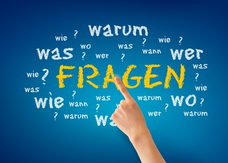 Hand pointing at a Fragen illustration on blue background. illustration