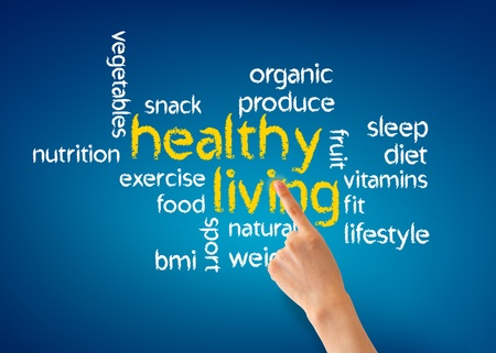 Hand pointing at a Healthy Living illustration on blue background.