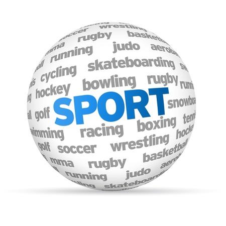 sphere: 3d Sport Word Sphere on white background. Stock Photo