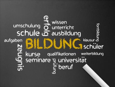 Dark chalkboard with the a Bildung word illustration.  illustration