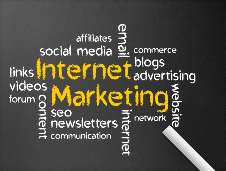 web marketing: Dark chalkboard with the Internet Marketing word illustration.  Stock Photo