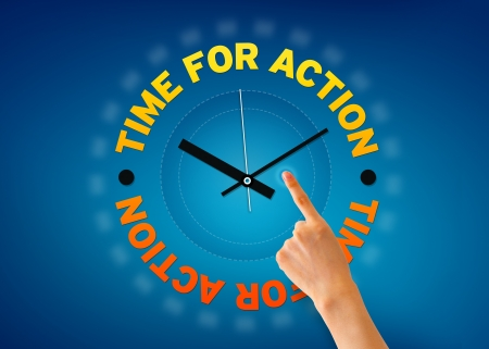 Hand pointing at a Time for Action clock on blue background.