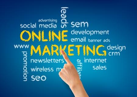 Hand pointing at a Online Marketing illustration on blue background. Stock Illustration - 13624444