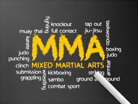 judo: Pizarra oscuro con la ilustración de MMA palabra.
