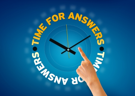 Hand pointing at a Time for Answers clock illustration on blue background.