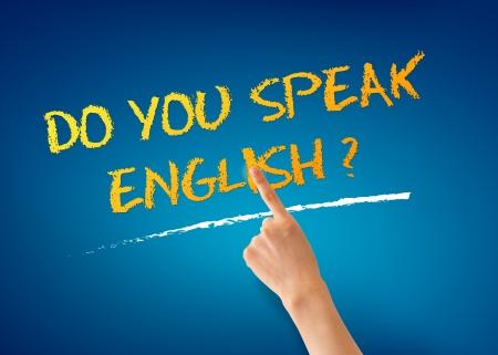 Hand wijst op een Spreekt u Engels Illustratie.
