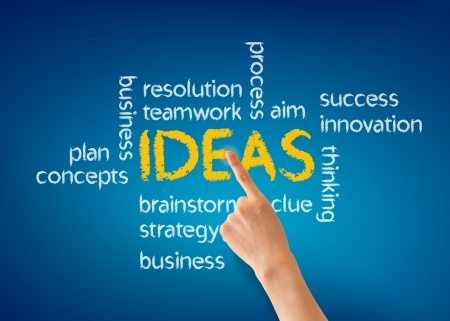 Hand pointing at a Ideas word illustration on blue background. Stock Illustration - 13624441