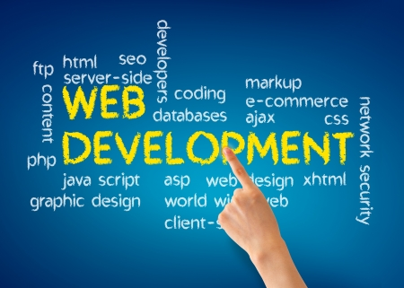 web marketing: Hand pointing at a Web Development illustration on blue background.
