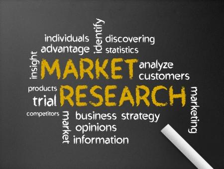 investigaci�n: Pizarra oscuro con la ilustraci�n de la Palabra de la investigaci�n de mercado