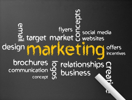 web marketing: Dark chalkboard with a marketing Illustration