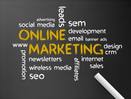 web: Dark chalkboard with a Online Marketing Word Illustration.