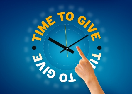 fundraiser: Hand pointing at a Time to Give glock illistration on blue background.