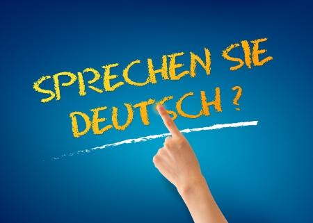 understanding: Hand pointing at a Sprechen Sie Deutsch Illustration Stock Photo