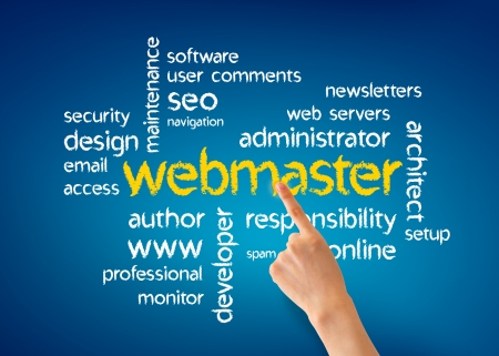 webmaster: Hand pointing at a webmaster illustration on blue background.