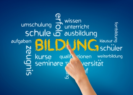 Hand pointing at a Bildung word illustration on blue background. illustration
