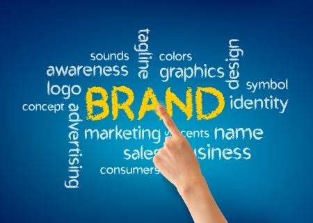 Hand pointing at a Brand illustration on blue background. Standard-Bild