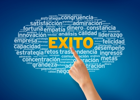 Hand pointing at a Exito illustration on blue background. Stock Illustration - 13677935