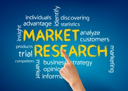 selling service: Hand pointing at a Market Research illustration on blue background. Stock Photo