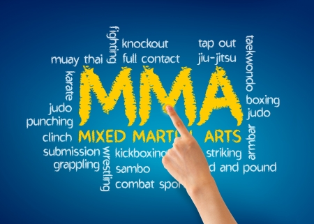 clinch: Hand pointing at a Mixed Martial Arts illustration on blue background.