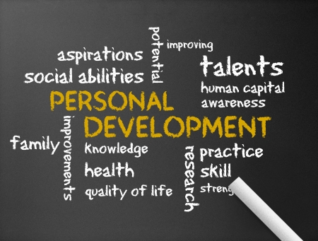 life coaching: Dark chalkboard with a Personal Development illustration.  Stock Photo