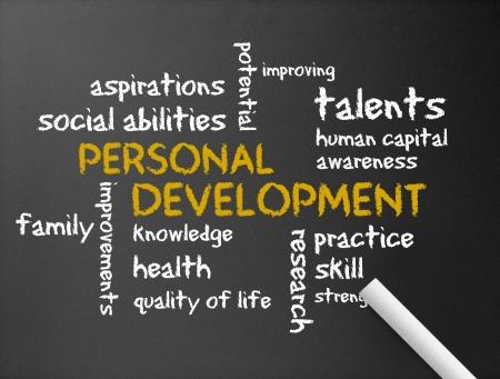 ontwikkeling: Donkere schoolbord met een Personal Development illustratie.
