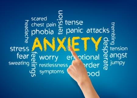 desorden: Mano que señala en una ilustración palabra ansiedad sobre fondo azul. Foto de archivo