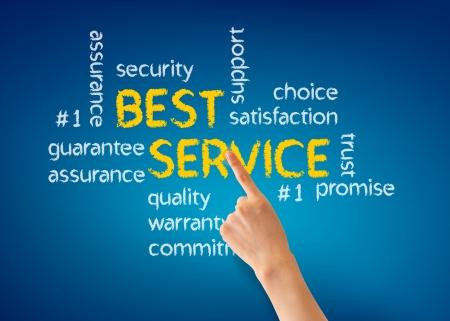 kunden: Hand zeigt auf eine Best Service Wort Illustration auf blauem Hintergrund. Lizenzfreie Bilder