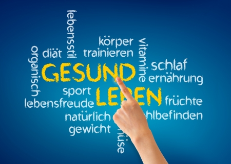 Hand pointing at a Gesund Leben word illustration on blue background. illustration