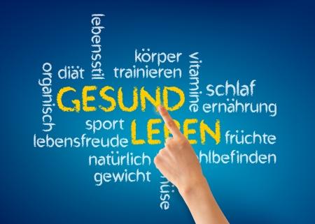 Hand pointing at a Gesund Leben word illustration on blue background. Stock Illustration - 13677933