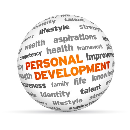 3d Personal Development Word Sphere on white background. photo