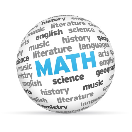 3d Math Word Sphere on white background. photo