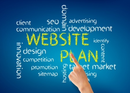 website plan: Hand pointing at a Website Plan word illustration on blue background. Stock Photo