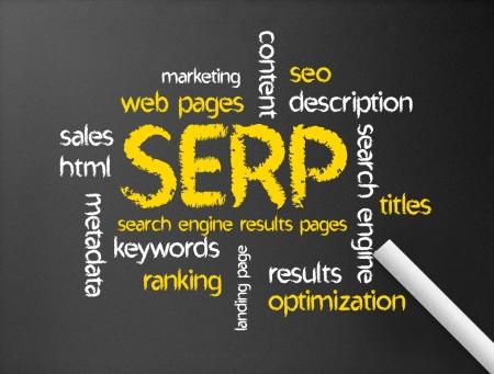 seo: Donkere bord met het woord SERP illustratie.