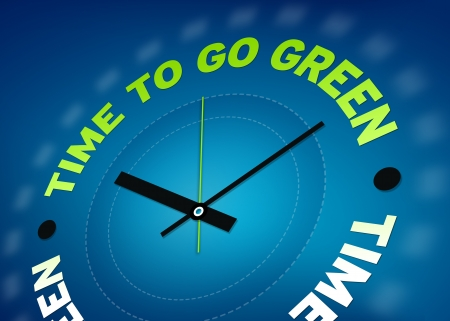 blue green background: Time to go green clock illustration on blue background.