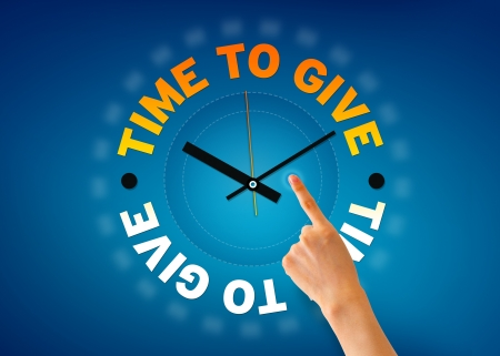 fundraiser: Hand pointing at a time to give clock illustration on blue background.