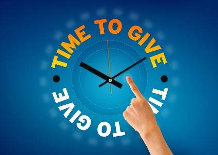 generosit�: Mano che punta a un tempo per dare illustrazione orologio su sfondo blu. Archivio Fotografico