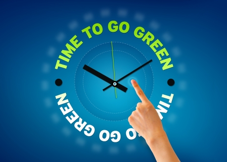 Hand pointing at a Time for go green clock illustration on blue background. illustration