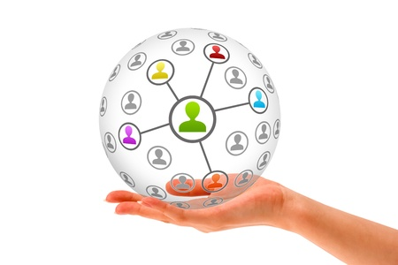 Hand holding a 3d Social Network Sphere on white background.